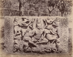 Large sculptured slab with figure of Shiva, at Dharwar.